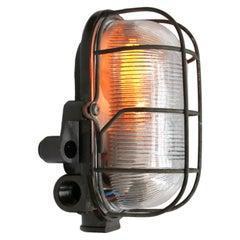 Vintage Industrial Bakelite Holophane Glass Wall Scones Lights (2x)