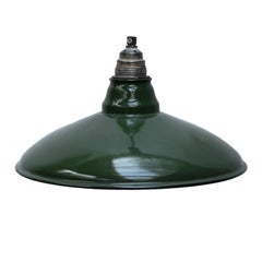 Green American Enamel Vintage Industrial Pendant Light
