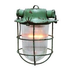 Green Metal Vintage Industrial Holophane Glass Pendant Light