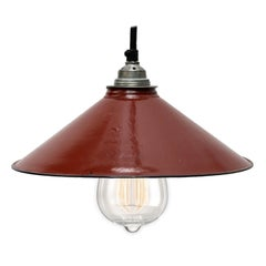 Brown Enamel French Vintage Industrial Pendant Light
