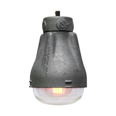 Silver Grey Cast Aluminium Vintage Industrial Clear Glass Pendant Light
