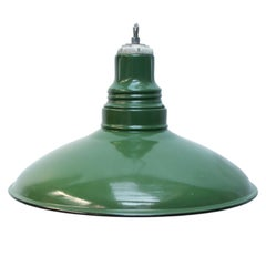 Green Enamel Vintage Industrial Pendant Lights (5x)