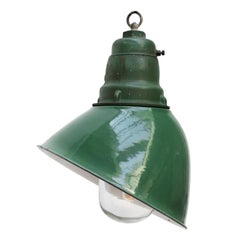 Green Enamel Vintage Industrial Cast Iron Top Clear Glass Pendant Light