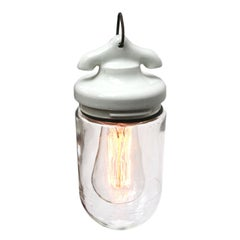 White Porcelain French Vintage Industrial Clear Glass Pendant Light