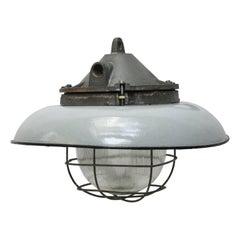 Grey Enamel Vintage Industrial Cast Iron Holophane Glass Factory Pendants