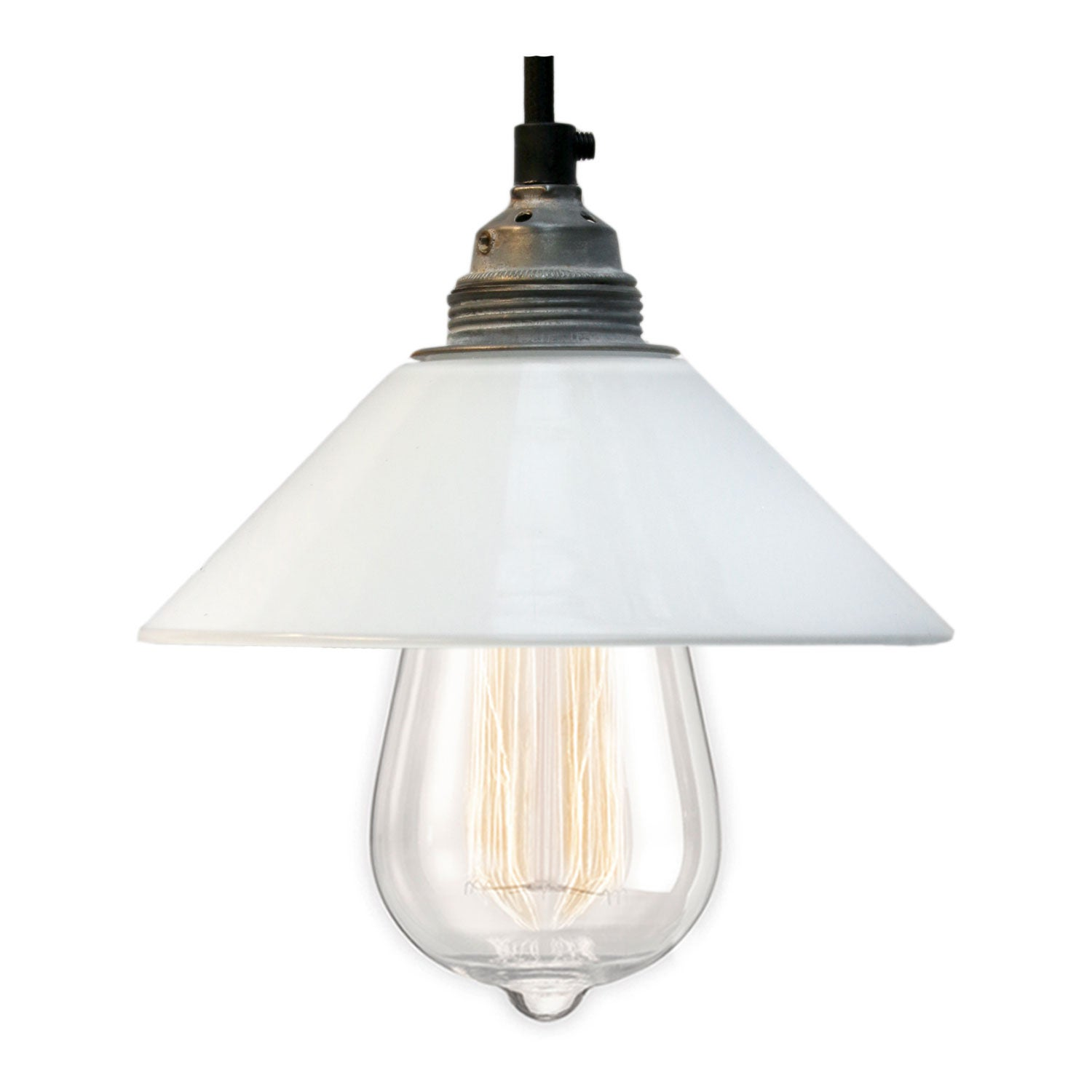 White French Opaline Glass Shades Pendant Lights