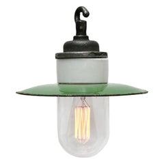Green Enamel Vintage Industrial Cast Iron Porcelain Glass Pendant Light