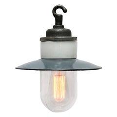 Grey Enamel Vintage Industrial Cast Iron Porcelain Glass Pendant Light