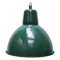 Petrol Enamel Vintage Industrial Pendant Lights (3x)