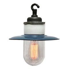 Blue Enamel Vintage Industrial Cast Iron Porcelain Glass Pendant Light