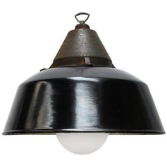 Black Enamel Vintage Industrial Cast Iron Frosted Glass Hanging Lamps (8x)