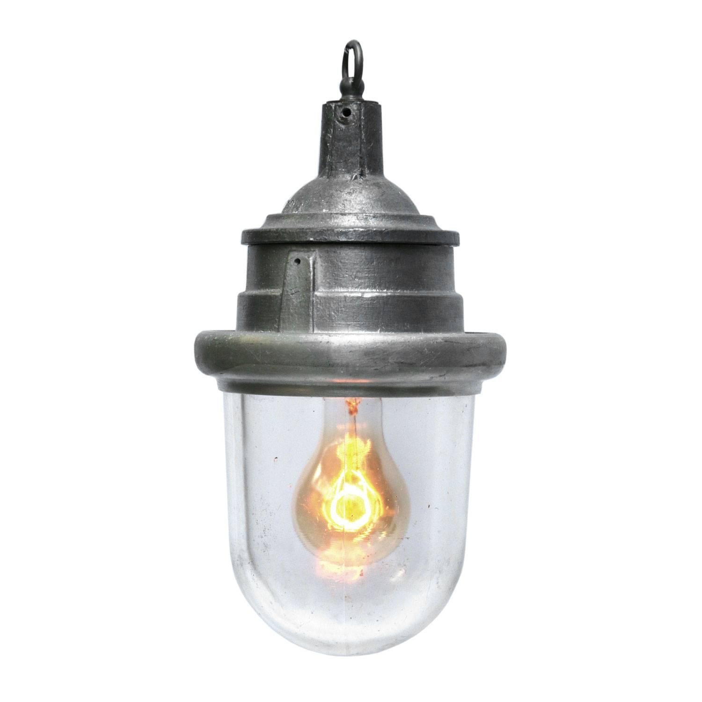 Gray Silver Cast Aluminum Clear Glass Vintage Industrial pendant Lamps