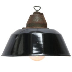 Black Enamel Cast Iron Clear Glass Vintage Industrial Pendant Lights