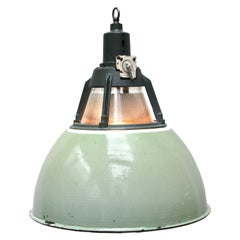 Green Vintage Industrial Holophane Glass Pendant Light
