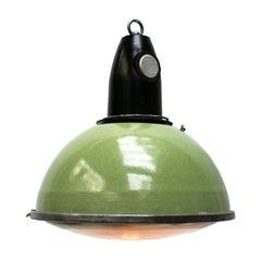 Green Enamel Vintage Industrial Bakelite Top Holophane Glass Pendant Light