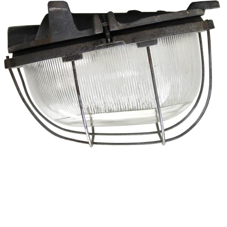 Cast Iron Vintage Industrial Wall Lamp Holophane glass (44x) For Sale at 1stdibs