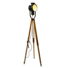 Black Enamel Tripod Wooden Legs Vintage Industrial Spot Light