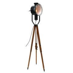Wooden Tripod Floor Lamp Black Enamel Rounded clear glass Industrial Spot Light