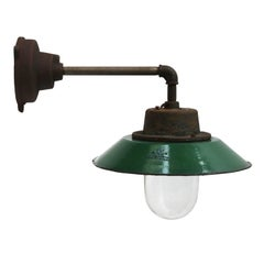 Green Enamel Vintage Industrial Wall Lamp Cast Iron Arm Clear Glass