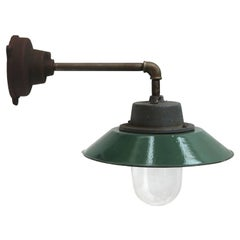 Petrol Enamel Vintage Industrial Wall Lamp Cast Iron Arm Clear Glass