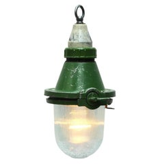 Small Green Vintage Industrial Lights Holophane Glass