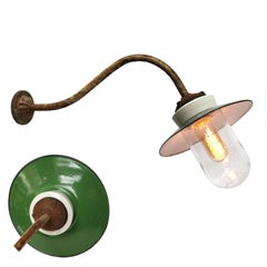 Green Enamel Porcelain Glass Cast Iron Vintage Industrial Wall Light (13x)