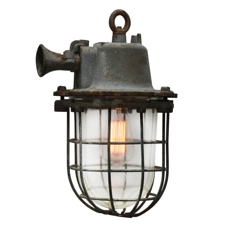 Gray Cage Lamp Vintage Industrial  For Sale
