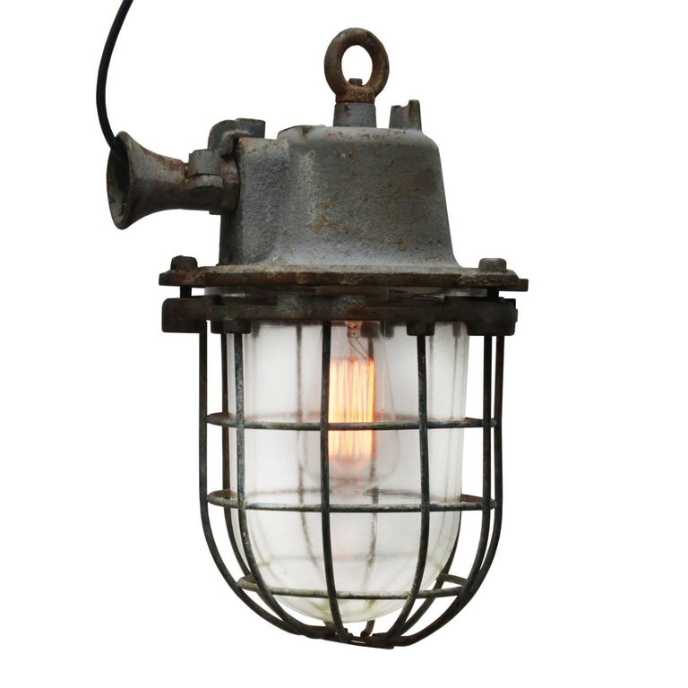 Gray Cage Lamp Vintage Industrial  In Good Condition For Sale In Amsterdam, NL