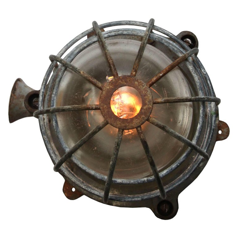 Czech Gray Cage Lamp Vintage Industrial  For Sale