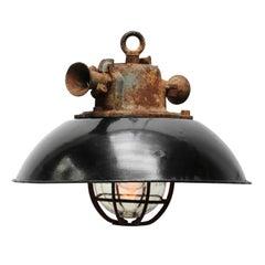 Black Enamel Cast Iron Vintage Industrial Pendant Light