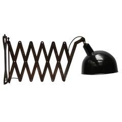 Extra Large Black Enamel Industrial Scissor Wall Lamps (12x)