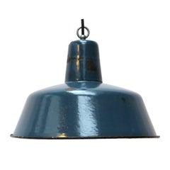 Blue Enamel Vintage Industrial Pendant Lamp