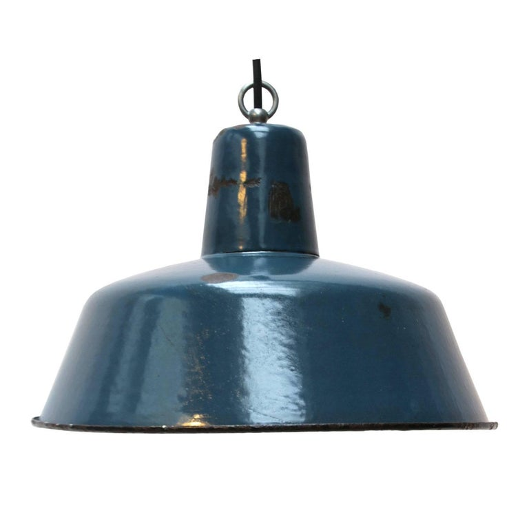 Vintage Industrial Enamel Pendant Light: Bomba Extra Large Light Blue, Blue Enamel Industrial