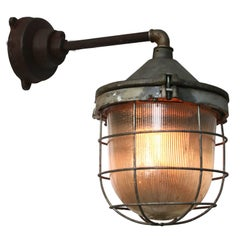 Cast Iron Vintage Industrial Holophane Glass Wall Light (14x)