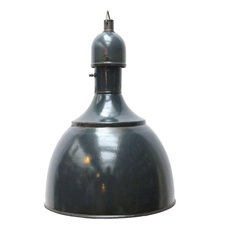 Blue Enamel Vintage Industrial Pendant Hanging Lamp For Sale