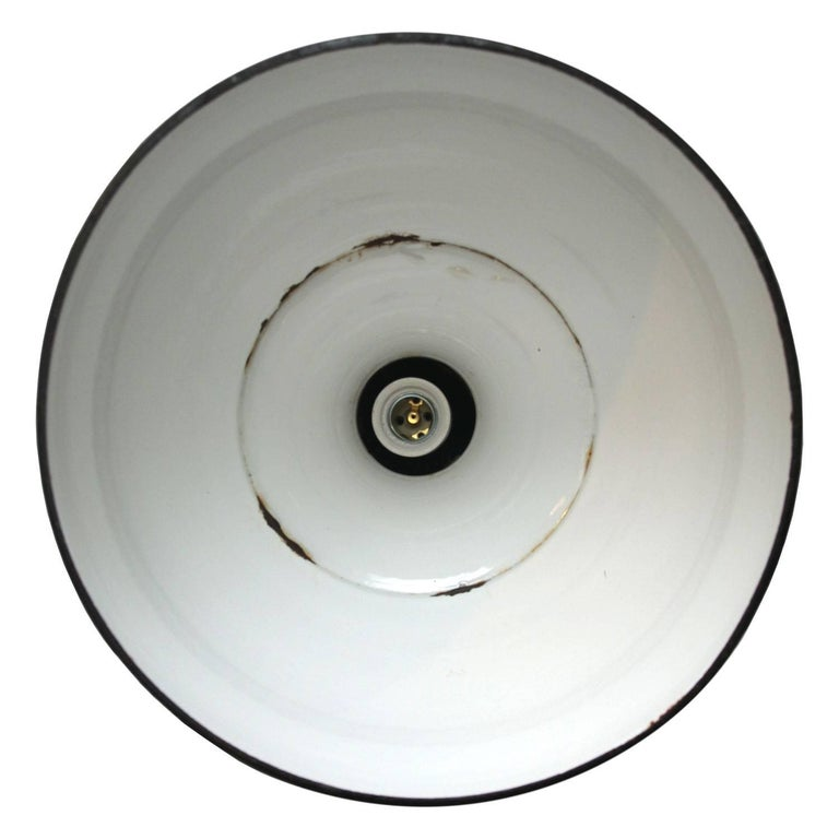 Hungarian Blue Enamel Vintage Industrial Pendant Hanging Lamp For Sale