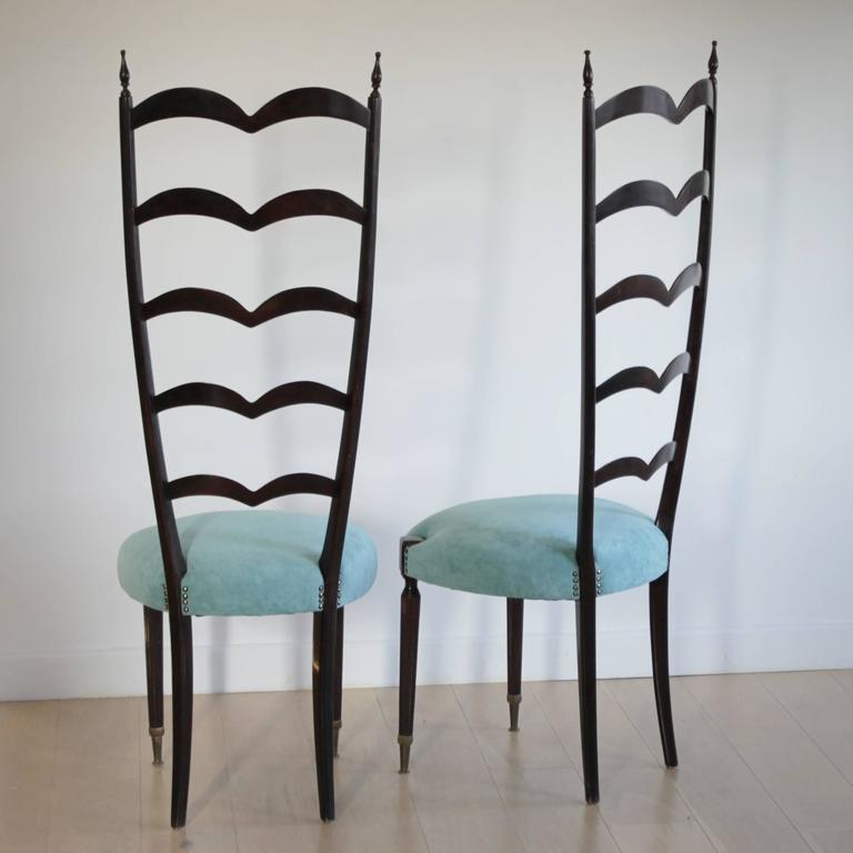 Mid-Century Modern Pair of Highly Decorative Ladder Back Chairs by Paolo Buffa For Sale