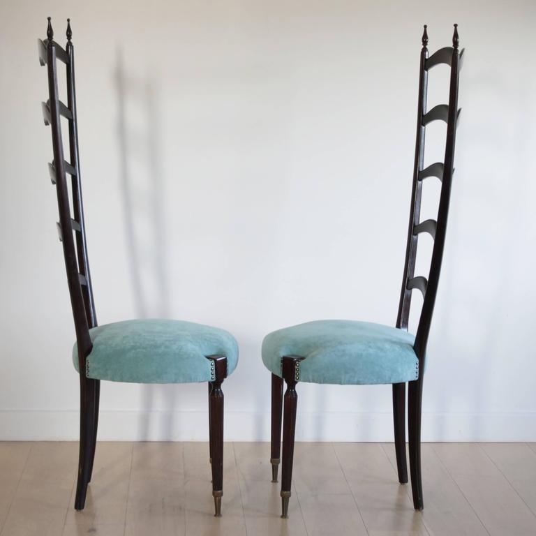 Italian Pair of Highly Decorative Ladder Back Chairs by Paolo Buffa For Sale