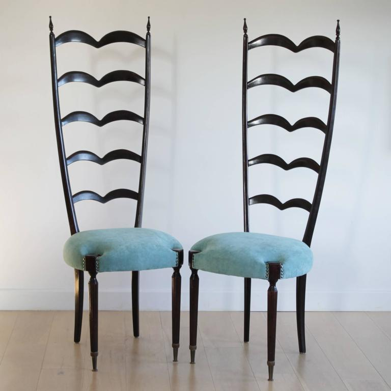 Ebonized Pair of Highly Decorative Ladder Back Chairs by Paolo Buffa For Sale