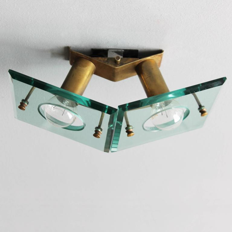 Italian Brass and Cut-Glass Sconce by Arredoluce For Sale 1
