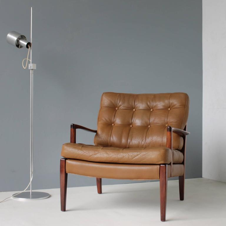 Easy Chair By Arne Norell, Sweden. Tufted Buffalo Leather Cushions. Teak  Frame And