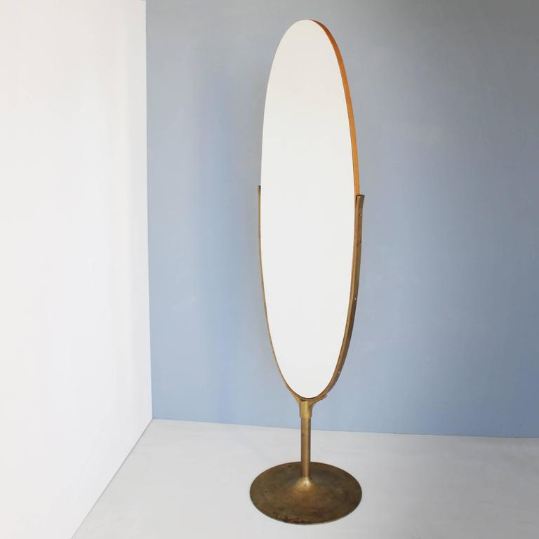 Oval Dressing Mirror with a Brass Frame at 1stdibs