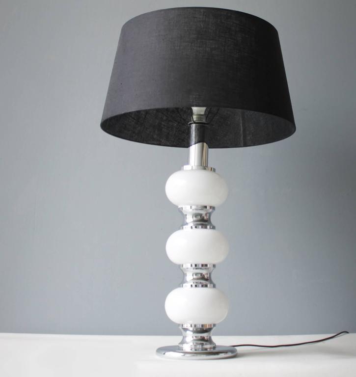 Opaline Glass Large Table Lamp by Sölken Leuchten, Germany For Sale