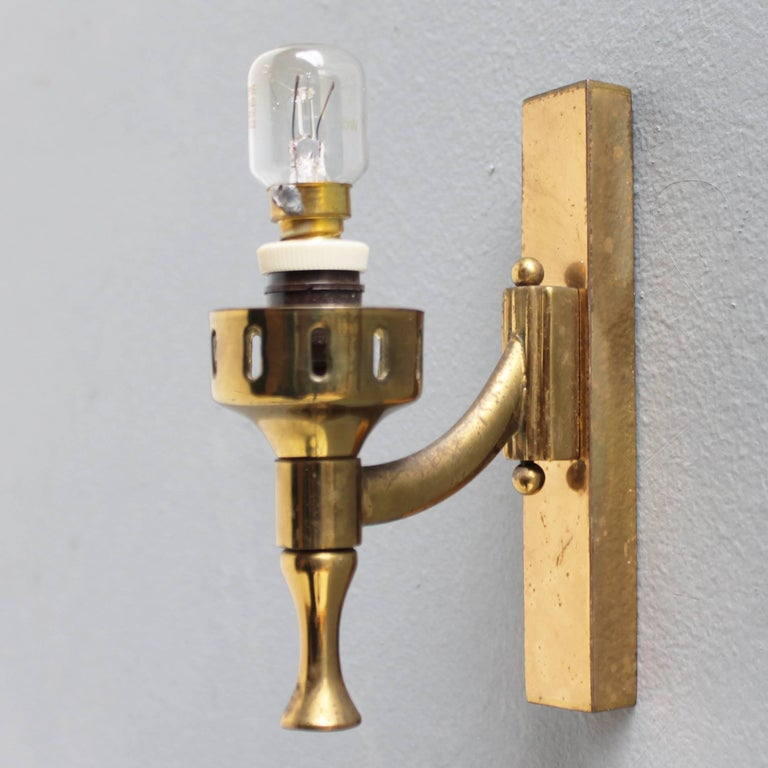 Brass Pair of Italian Sconces Attributed to Arredoluce For Sale