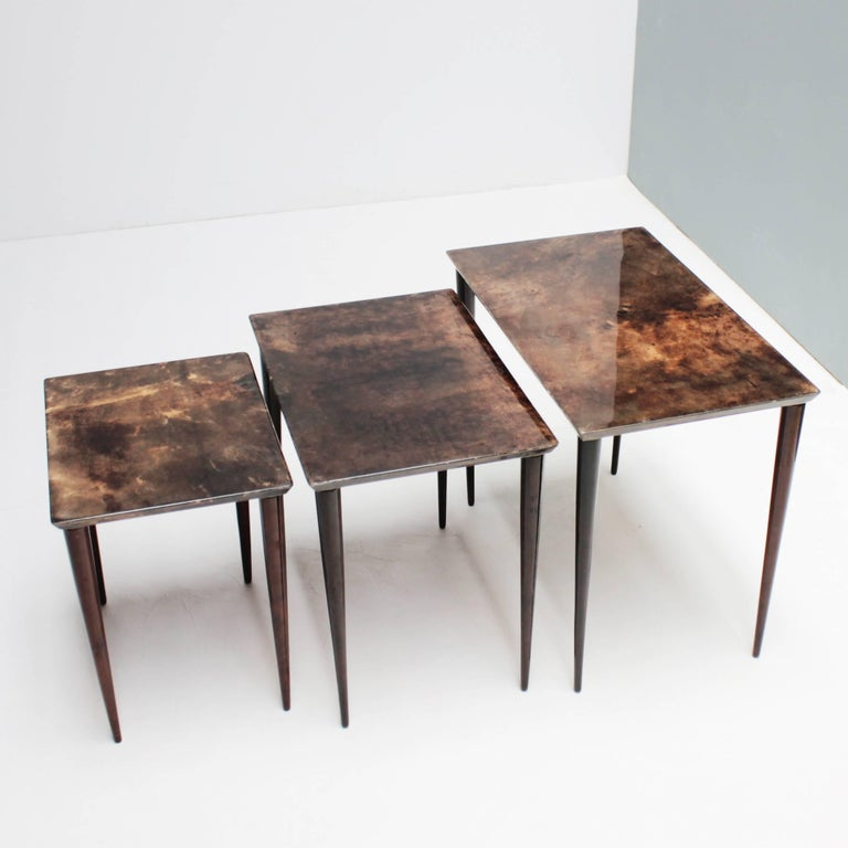 Italian Set of Three Aldo Tura Parchment Nesting Tables For Sale