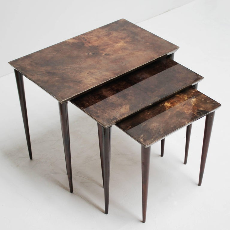 Lacquered Set of Three Aldo Tura Parchment Nesting Tables For Sale