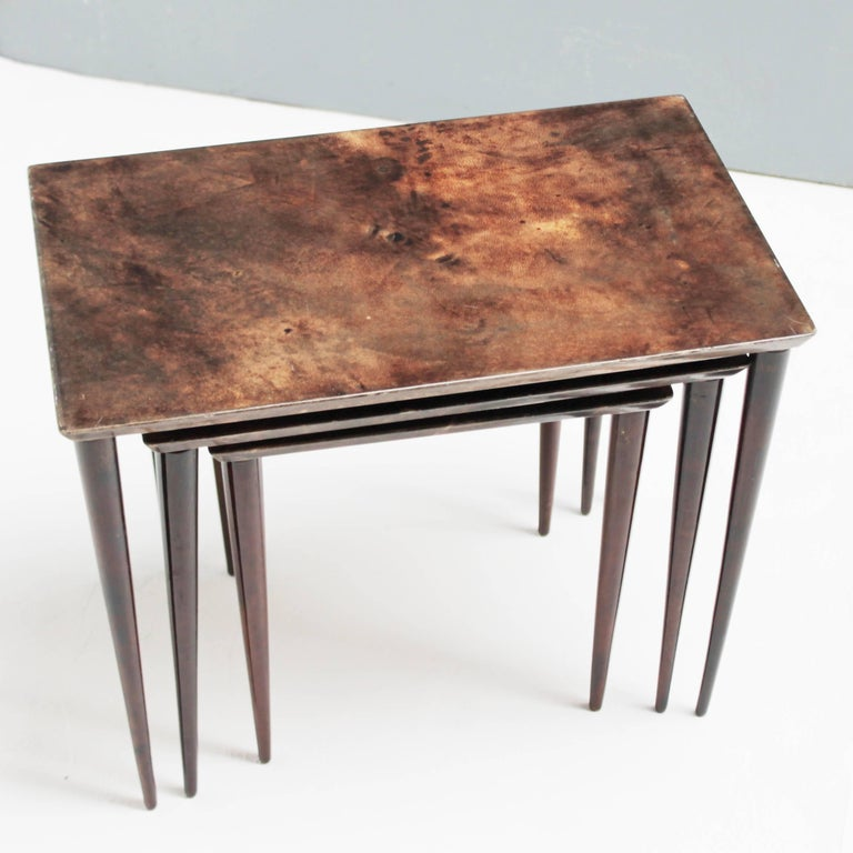 Goatskin Set of Three Aldo Tura Parchment Nesting Tables For Sale