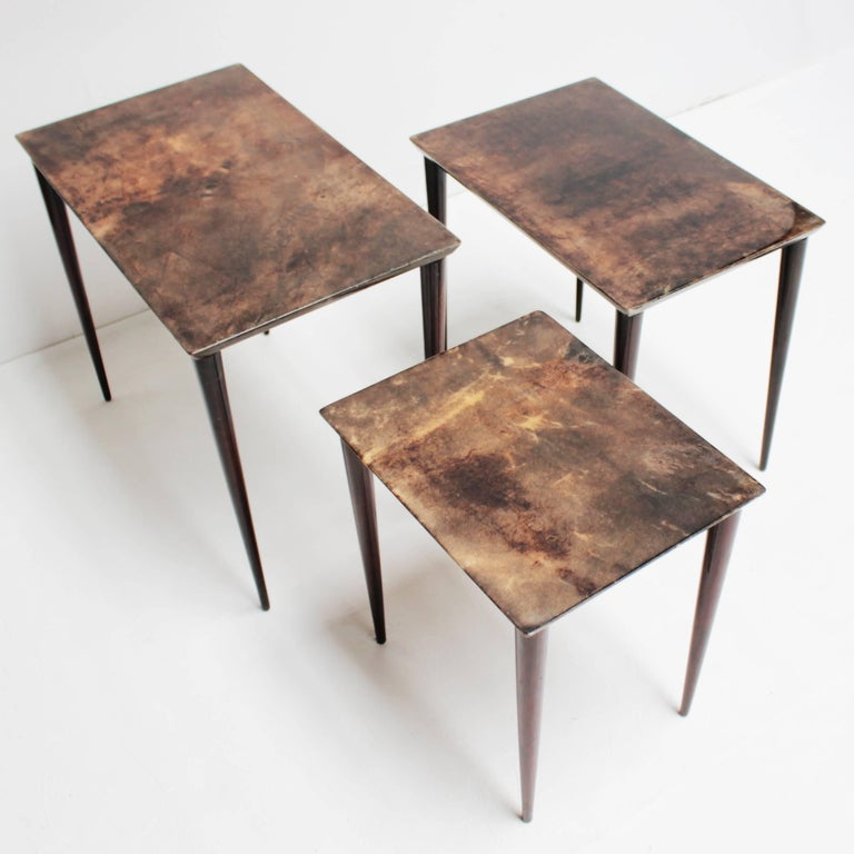 Set of Three Aldo Tura Parchment Nesting Tables For Sale 1