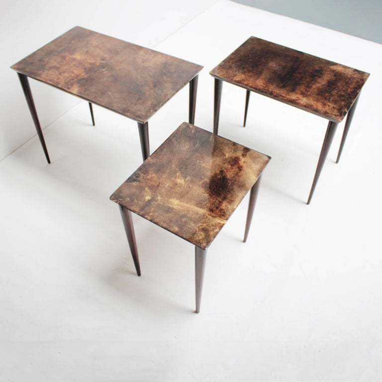 Set of Three Aldo Tura Parchment Nesting Tables For Sale 2