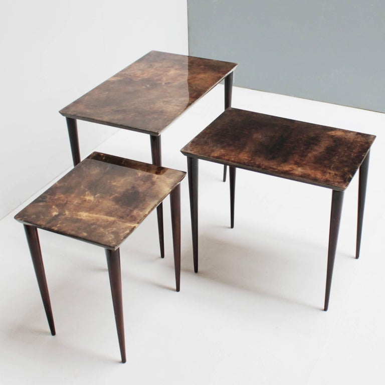 Set of Three Aldo Tura Parchment Nesting Tables For Sale 3